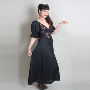 70s LACE & SATIN Nightgown - Vintage OLGA Long Black Dreamy Lingerie - s/m