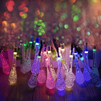5m Solar Powered Water Drop String Lights LED Fairy Light 20LED for Wedding Christmas Party Festival Outdoor Indoor Decoration