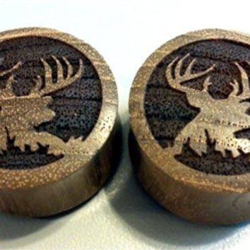 "Custom Handmade Organic ""Trophy Buck"" Wood Plugs - You choose wood type/color and size 0g - 30mm"