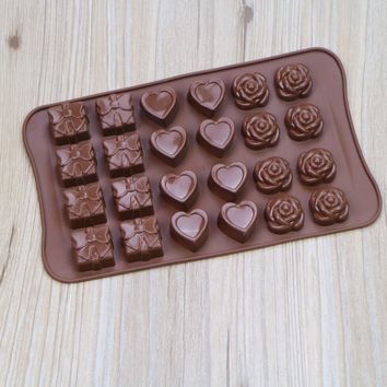 23*14*1.8cm Silicone Heart Rose Chocolate Mold Candy Diy Tools Ice Cube Tray Silicone Form For Cupcake Cake Decorations E744