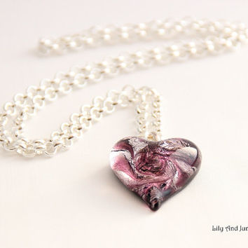 Murano Glass Heart Necklace – hand blown one of a kind pendant with sterling silver foil and amethyst/purple swirls on a silver plated chain