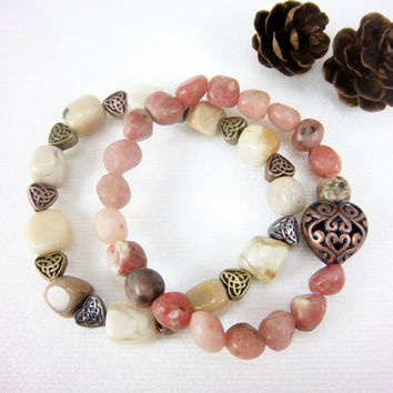 Mixed Gemstone Stacking Stretch Bracelets Jasper Feldspar Mixed Hearts Valentines Day Boho Cottage Chic Jewelry