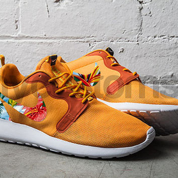 Nike Roshe Run Orange Hyperfuse Island Floral Palm Tree Print Custom
