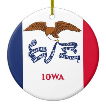 Ornament with flag of Iowa