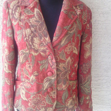 Rose Floral blazer suit coat tapestry red green three button front 2 button cuffs Willi Smith designer small medium