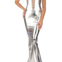 Silver Halter Leather Dress