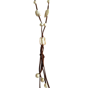 Alita Pearl Dark Suede Long Leather Necklace