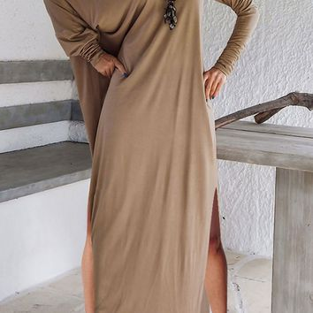 B| Long Sleeve One shoulder Solid Maxi Dress