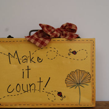 Vintage storage box country decor, Hand painted metal storage box country home decor, Make it count home decor, Ladybugs and dandelion decor
