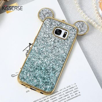 KISSCASE Phone Cases For Samsung S8 S8 Plus S7 S6 Edge Luxury Glitter Mickey Mouse Cover Coque For Galaxy S8 S8 Plus S7 S6 Edge