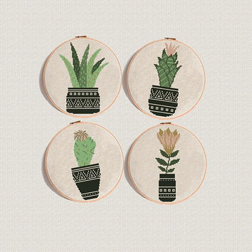 Cactus cross stitch Pattern PDF Modern cross stitch set 4 Succulent Floral cross stitch chart Flower Easy cross stitch PDF Instant download