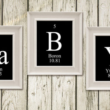 BABY periodic Table of Elements Print Black White Printable Instant Download Digital Art Home Decor PT003black