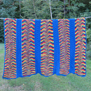 Vintage blue and multicolored rainbow crochet afghan throw blanket - Rainbow afghan throw 60 x 54 in