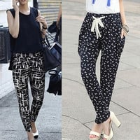 Korean Fashion Womens  Loose Wide Leg Casual Harem Yoga Sport Pants Trousers F_B = 1933356740