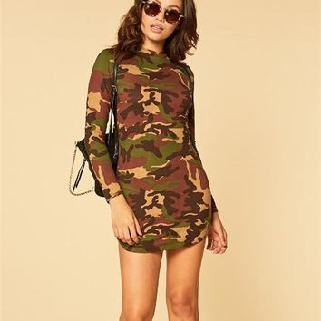 Streetstyle  Casual Army Green Camouflage Round Neck Long Sleeve Casual Mini Dress