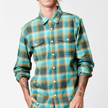 HUF Sayulita Flannel Green Long Sleeve Button Up Shirt - Mens Shirts - Green