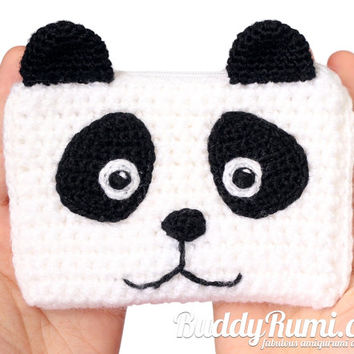 Panda bear crochet wallet with two compartments personalizable Finished item Ready to ship