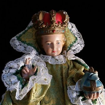 Large Infant Child Jesus of Prague in Handmade Gown