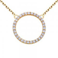 Sterling Silver Nickel Free Pave Ring Necklace