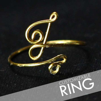 CUSTOM Personalized Monogram / Initial / Alphabet Wire Name Ring - Adjustable - Silver / Brass (Gold Look)