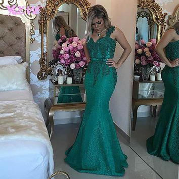 New Elegant Green Lace Mermaid Prom Dresses Long Evening Gown Formal Women Dress Pearls Floor Length Custom Made