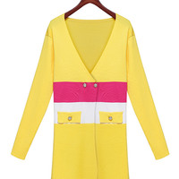 Yellow Multi Color Striped Asymmetrical Closing Cardigan