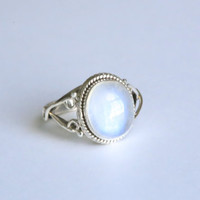 Rainbow Moonstone 925 Silver Ring