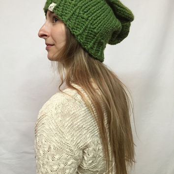Knit Slouchy Hat Beanie Olive Green Grass Warm And Cozy