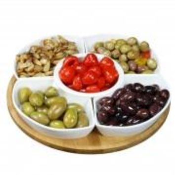 Elama Signature 12 1/4 Inch 6pc Lazy Susan Appetizer and Condiment Server Set with 5 Serving Dishes Tray