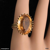 Vintage 14K Honey Amber Topaz Ring 1980s 14K Yellow Gold Solitaire Ring, 14 Carat Oval Step Cut Honey Amber Topaz, Alternate Engagement Ring