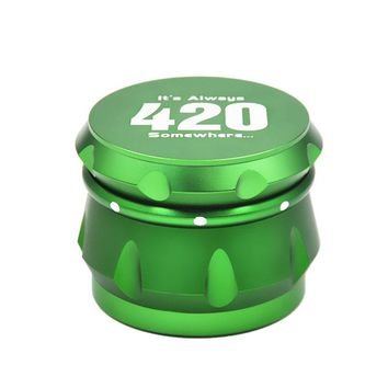 High Quality Dia.56MM 4 Parts Aluminum Grinder with 420 LogoTobacco Grinder Crusher Herb Spice Grinder With Paper Storage Case
