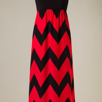 Show Time Chevron Maxi Dress - Red and Black