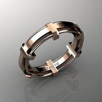Mens Modern 14K Rose Gold Formal Wedding Band B1002M-14KRG