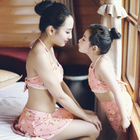 Child Summer Swimsuits Baby Kid's Floral Swimwear Bathing 3Piece Set mother and daughter family look Swimming Wear