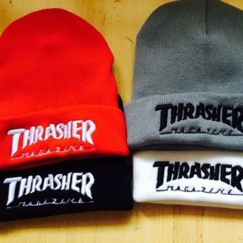 Winter Unisex Thrasher Embroidery knitted Beanies Hat