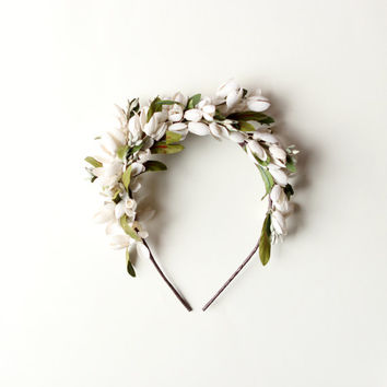 Bridal flower crown, Ivory floral wreath, Bridal hair, Woodland Wedding headpiece, Bridal Ivory flower headband - ALOUETTE