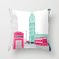 London Throw Pillow by Bluebutton Studio