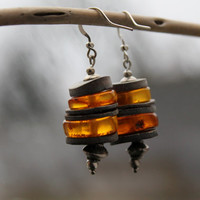 Modern Amber Earrings / Honey Amber Dangle Earrings / Slices of Shells / Genuine Amber / Contemporary Jewelry