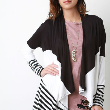 Colorblock And Stripe Draped Long Sleeve Open Front Cardigan