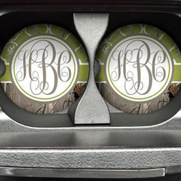 Personalized Monogrammed Car Coasters Green Olive Quatrefoil Buck Deer Head Camo , Cup Holder Coaster, Custom Gift, Sandstone Coaster