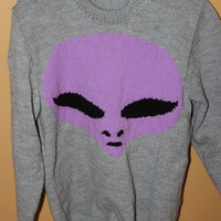 Purple Alien Head Hand Knitted Sweater