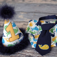 Boys Birthday Party Hat, Diaper Cover, Tie - First Birthday, Smash Cake Pics, Photo Prop - Remix Whales in Navy Blue, Yellow, Lime