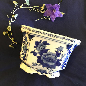 Asian Floral Chinoiserie Planter Delft Blue and White Flowered Indoor Plant Container Octagonal Feng Shui Pot 1960s Indoor Gardening Pottery