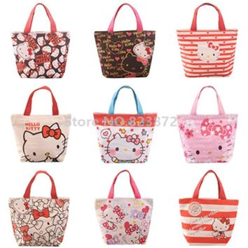 Kawaii Cute Hello Kitty Cat Cartoon Canvas Tote Lunch Bag Girls Kids Lunch Box Bag for School Women Mini Handbag Picnic Food Bag