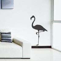 Wall Decal Vinyl Sticker Decals Art Decor Design Flamingo Tropical Bird Heron Animal Sky Flying Bedroom Living Room Nursery(r269)