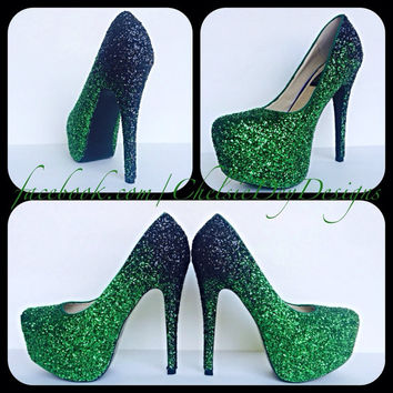 Emerald Ombre Glitter High Heels