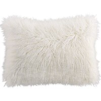 Faux Mongolian Fur Lumbar Pillow - Ivory