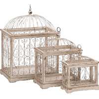 Harvey & Haley Metal Bird Cage with Celestial Designs - Set of 3