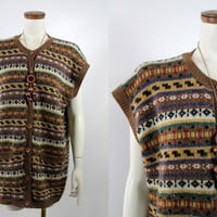 Vintage 70s 80s - Brown Mustard Yellow Black Stripe Knit Button Up Sleeveless Long Sweater Vest
