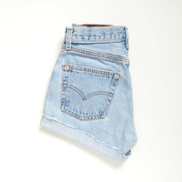 "vintage LEVIS 501 high waisted shorts / soft light wash denim / cutoff distressed hem / size 25"" waist"